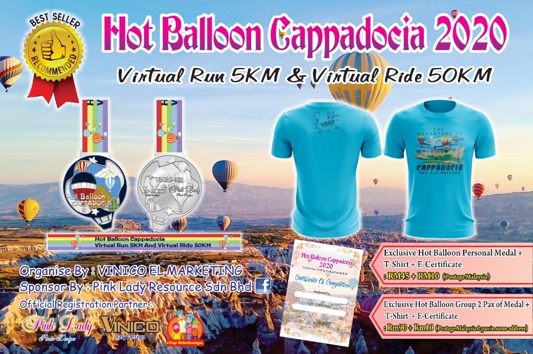 Hot Balloon Cappadocia 2020 Virtual Run 5KM Or Virtual Ride 50KM