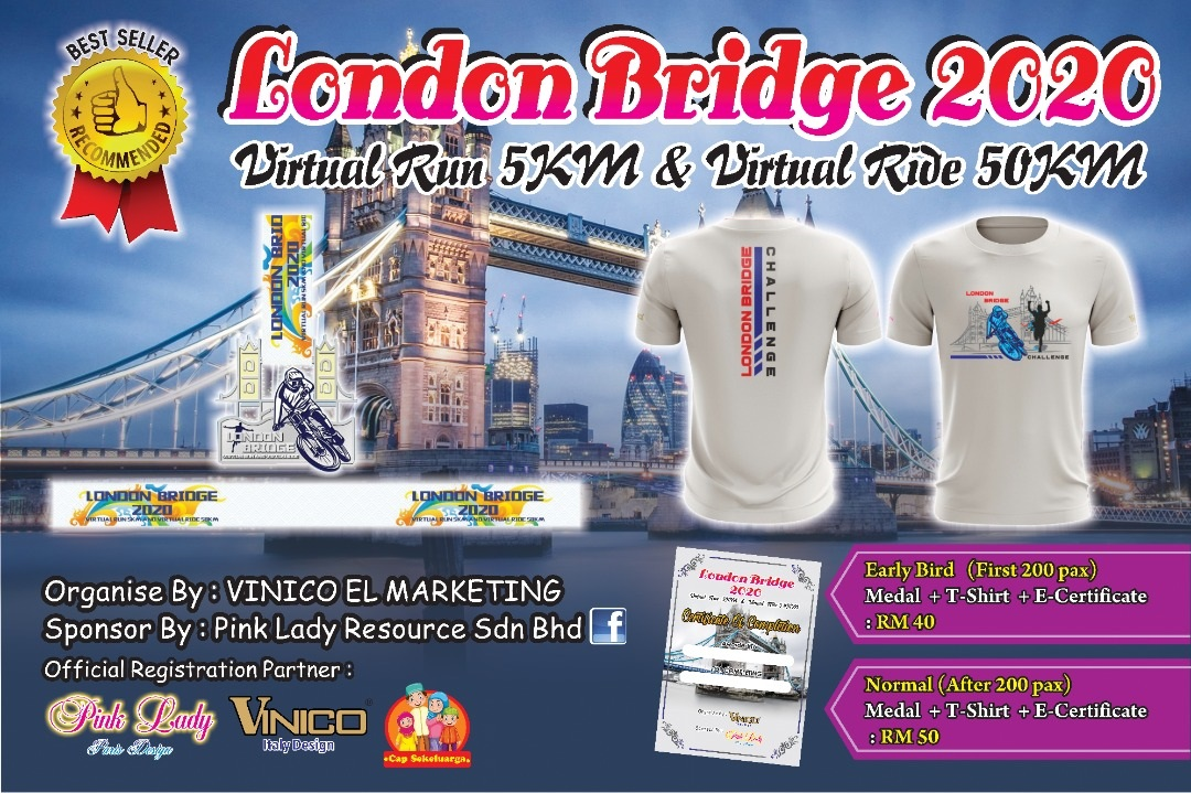 London Bridge 2020 Virtual Run 5KM Or Virtual Ride 50KM Banner