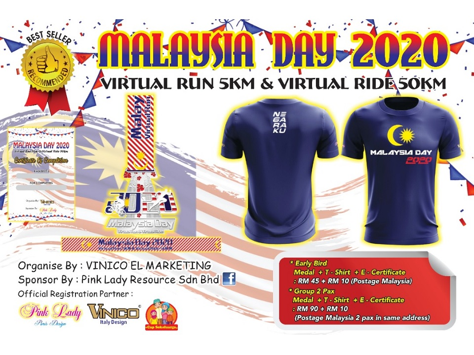 Malaysia Day 2020 Virtual Run 5KM & Virtual Ride 50KM