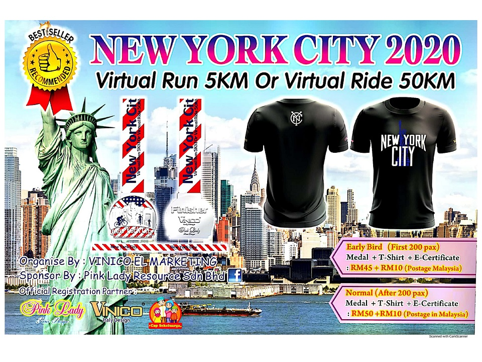 New York City 2020 Virtual Run 5KM Or Virtual Ride 50KM